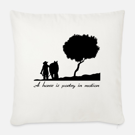 Western Riding Pillow Cases - A horse is poetry in motion - Sofa pillow with filling 45cm x 45cm natural white