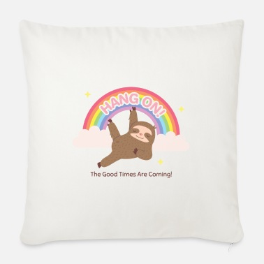Rainbow Sloth Hanging On To Rainbow - Sofa pillow with filling 45cm x 45cm