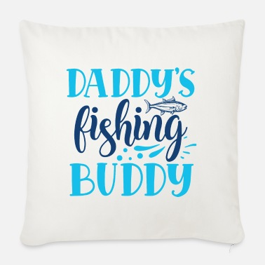 Slogan Daddy's Fishing Buddy Cute Kids Blue Hobby - Sofapude med fyld 44 x 44 cm