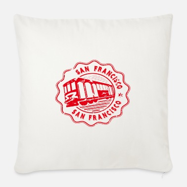Born In San Francisco USA Travel Souvenir Stamp Badge Stic - Sofa pillow with filling 45cm x 45cm