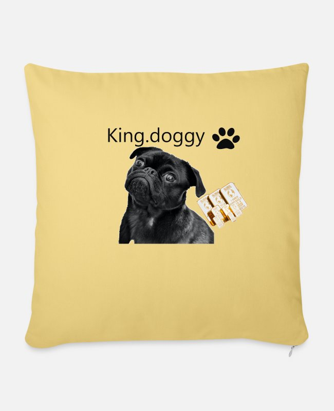 Gold Pillow Cases - king doggy - Sofa pillow with filling 45cm x 45cm washed yellow