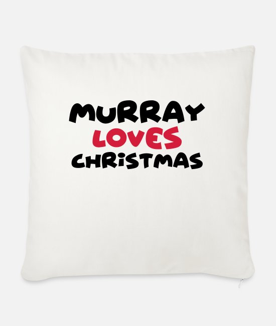 Christmas Pillow Cases - murray loves christmas xmas name - Sofa pillow with filling 45cm x 45cm natural white