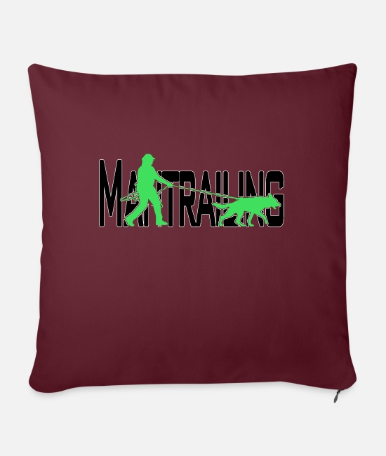 Black Forest Pillow Cases - Mantrailing black / green - Sofa pillow with filling 45cm x 45cm burgundy