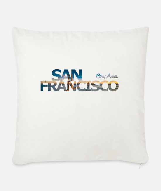 San Francisco Pillow Cases - San Francisco Bay Area - gift - Sofa pillow with filling 45cm x 45cm natural white