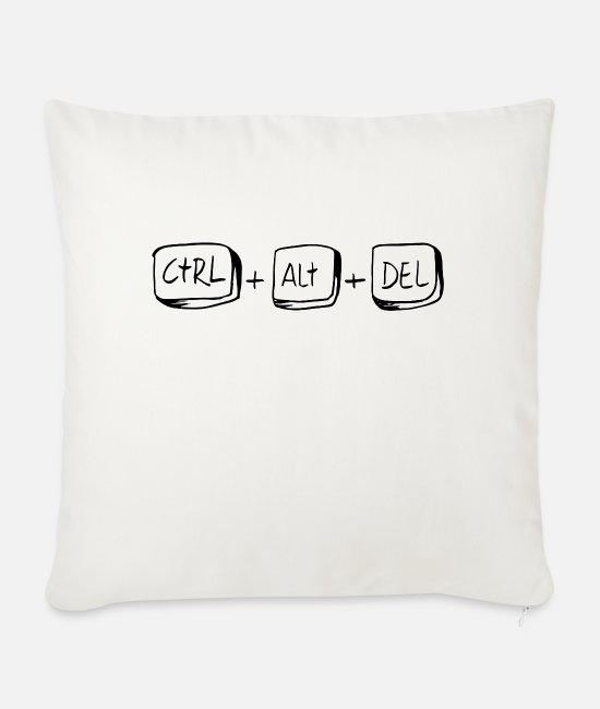 Crtl + Alt + Del Pillow Cases - CTRL ALT DEL to restart - Sofa pillow with filling 45cm x 45cm natural white