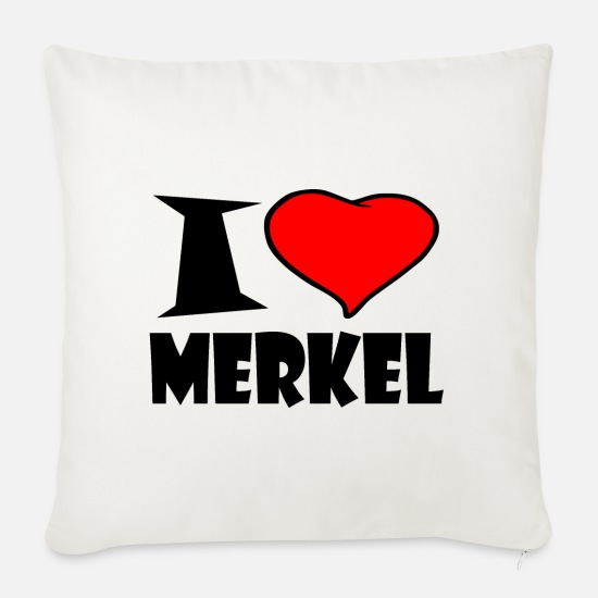 Love Pillow Cases - I love Merkel - Pillowcase 17,3'' x 17,3'' (45 x 45 cm) natural white
