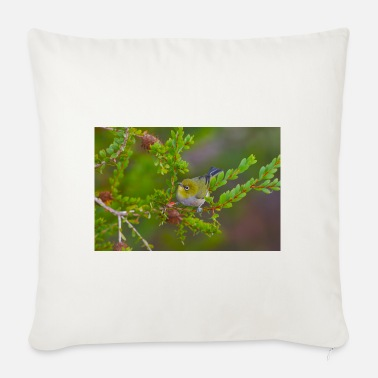 A Small Yellow Bird Foraging At Dawn - portrait - Sofa pillow with filling 45cm x 45cm