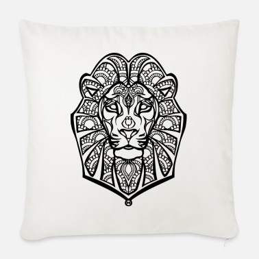Black Henna lion - Sofa pillow with filling 45cm x 45cm