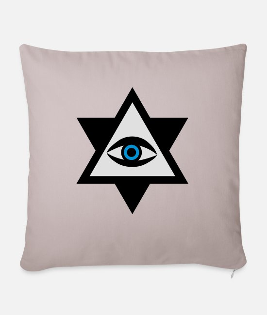 Eye Pillow Cases - The Eye of God 3c - Sofa pillow with filling 45cm x 45cm light taupe
