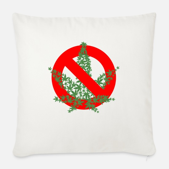 Hemp Pillow Cases - Cannabis Prohibition - Sofa pillow with filling 45cm x 45cm natural white
