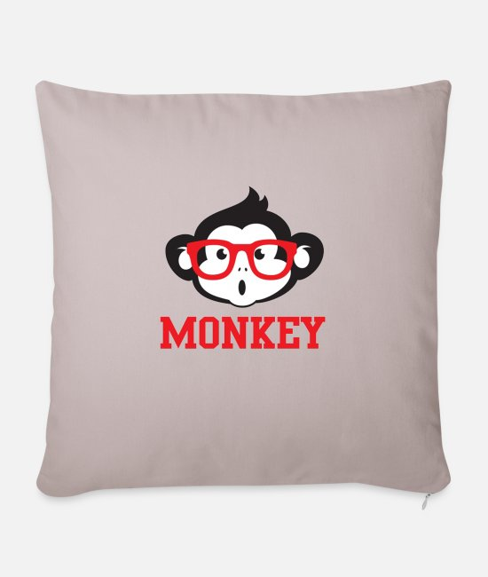 Small Pillow Cases - Monkey T-Shirt Print for him or her - Sofa pillow with filling 45cm x 45cm light taupe
