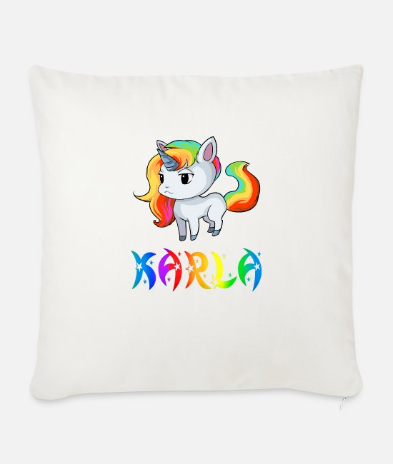 Karla Pillow Cases - Karla unicorn - Sofa pillow with filling 45cm x 45cm natural white