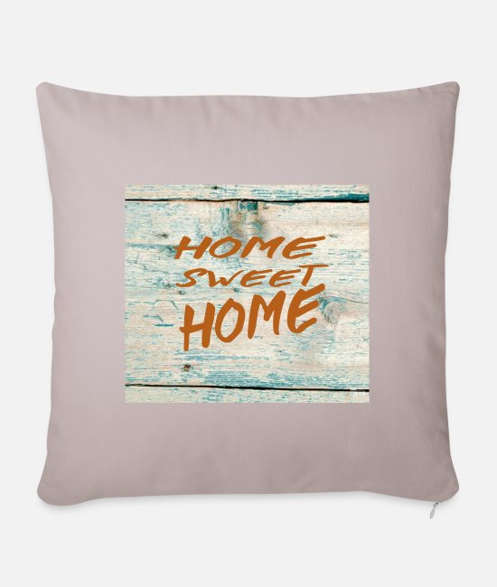 At Home Pillow Cases - Home sweet home - Sofa pillow with filling 45cm x 45cm light taupe