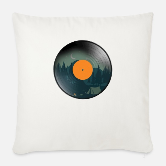 Cd Pillow Cases - Vintage Vinyl - Sofa pillow with filling 45cm x 45cm natural white
