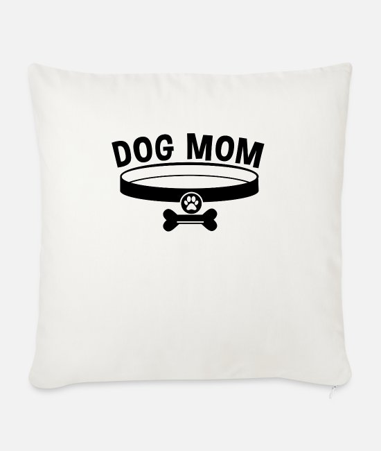 Mummy Pillow Cases - Dog Mom / Dog Mom - Sofa pillow with filling 45cm x 45cm natural white