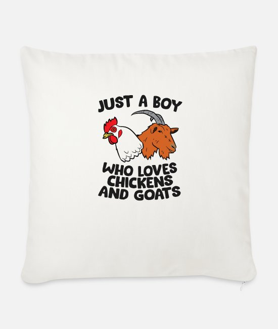 Capricorn Pillow Cases - Just a Girl Who Loves Chickens And Goats - Sofa pillow with filling 45cm x 45cm natural white