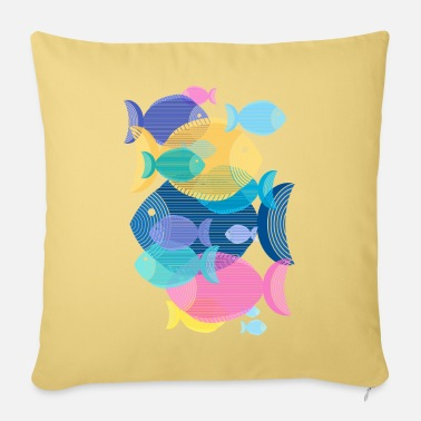 Fish (shoal, pattern) - Sofa pillow with filling 45cm x 45cm