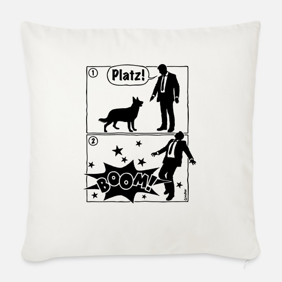 Dark Humour Pillow Cases - Cartoon, Dog & Owner: space! Boom! (1C) - Sofa pillow with filling 45cm x 45cm natural white