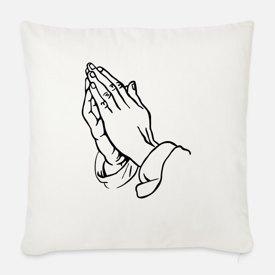 Praying Hands Pillow Cases - Praying Hands - Sofa pillow with filling 45cm x 45cm natural white