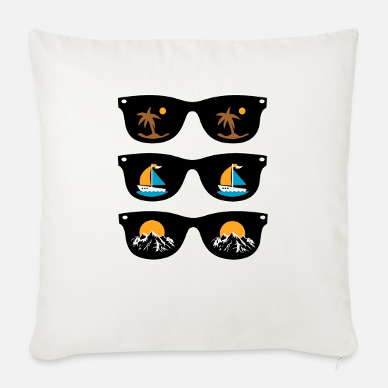 Sunglasses Pillow Cases - sunglasses - Sofa pillow with filling 45cm x 45cm natural white