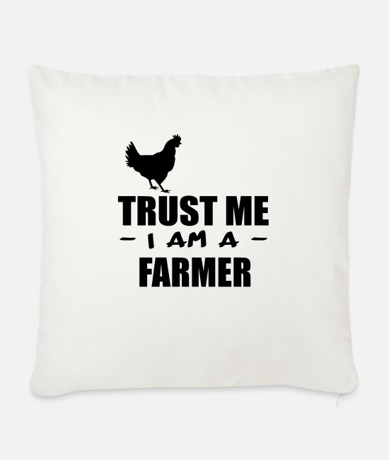 Rural Pillow Cases - trust me i m a farmer 4 - Sofa pillow with filling 45cm x 45cm natural white