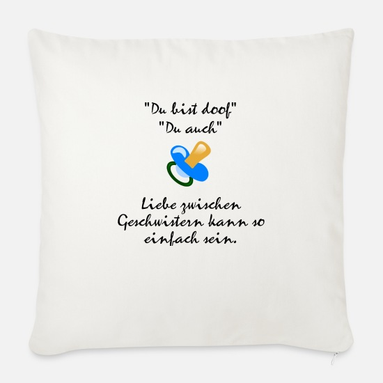 Love Pillow Cases - Siblings love - Sofa pillow with filling 45cm x 45cm natural white