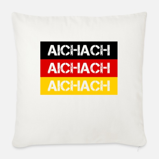 Federal Republic Of Germany Pillow Cases - STADT AICHACH, GERMANY - Sofa pillow with filling 45cm x 45cm natural white