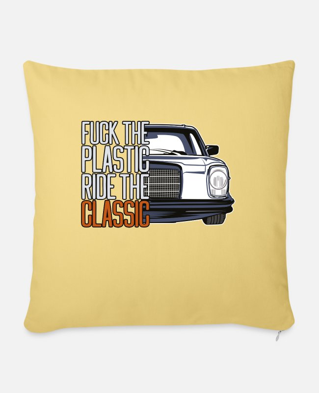 W 115 Pillow Cases - FTP Style Retro Car Silhouette - Sofa pillow with filling 45cm x 45cm washed yellow