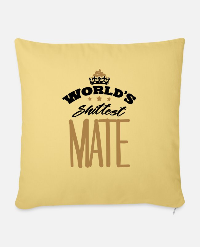Mateo Pillow Cases - worlds shittest mate - Sofa pillow with filling 45cm x 45cm washed yellow