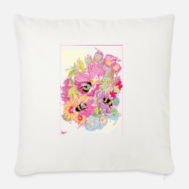 Bee Floral bumble bee design - Sofa pillow with filling 45cm x 45cm