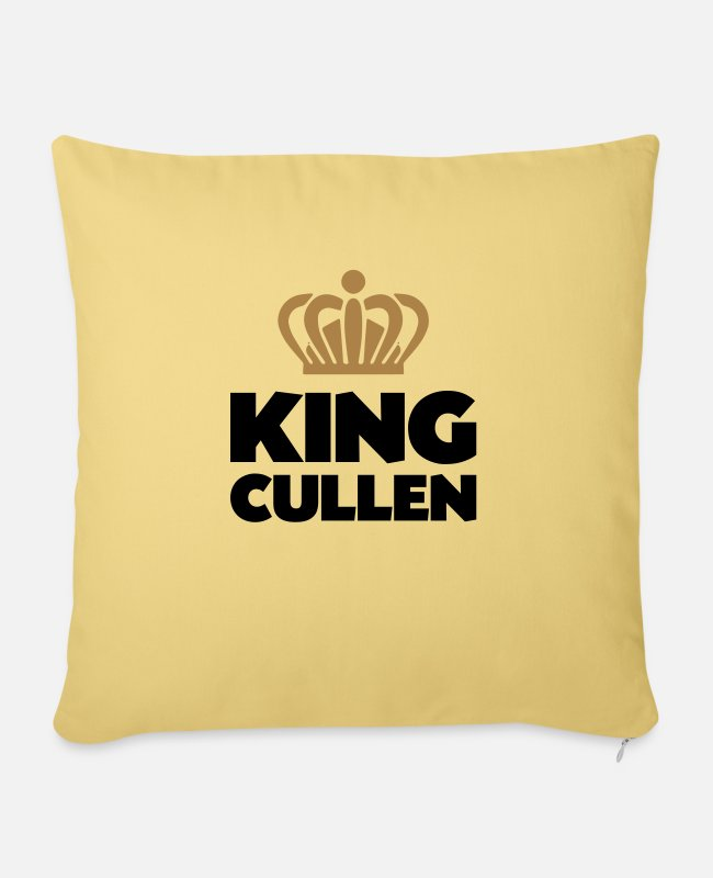 Crown Pillow Cases - King cullen name thing crown - Sofa pillow with filling 45cm x 45cm washed yellow