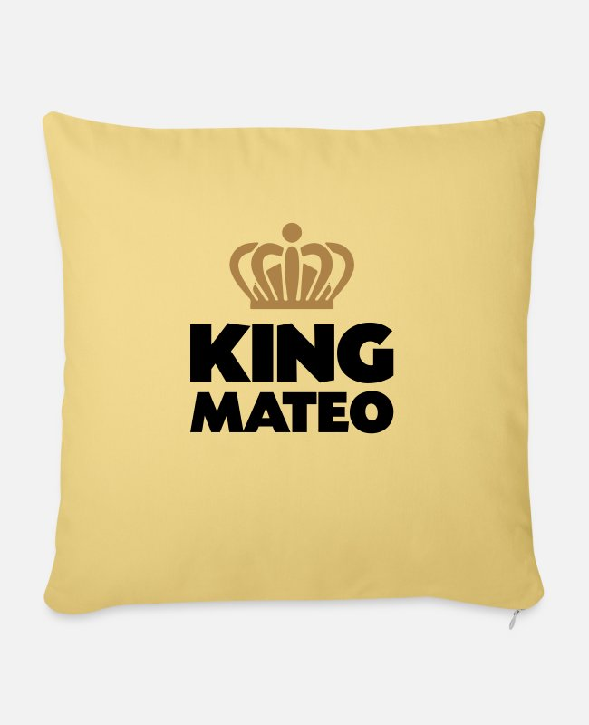 Mateo Pillow Cases - King mateo name thing crown - Sofa pillow with filling 45cm x 45cm washed yellow
