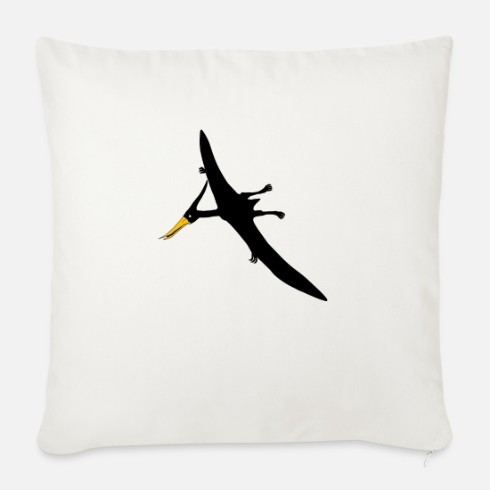 Dino Pillow Cases - THE BLACK PTERANODON - Sofa pillow with filling 45cm x 45cm natural white