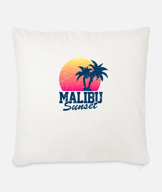 Sunset Pillow Cases - Malibu Sunset Worn - Sofa pillow with filling 45cm x 45cm natural white