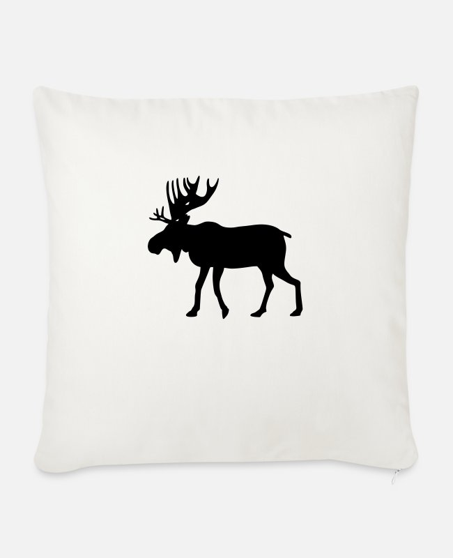 Stag Pillow Cases - Moose / reindeer / deer - Sofa pillow with filling 45cm x 45cm natural white