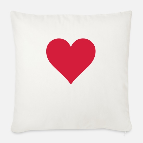 Heart Pillow Cases - Heart - Sofa pillow with filling 45cm x 45cm natural white