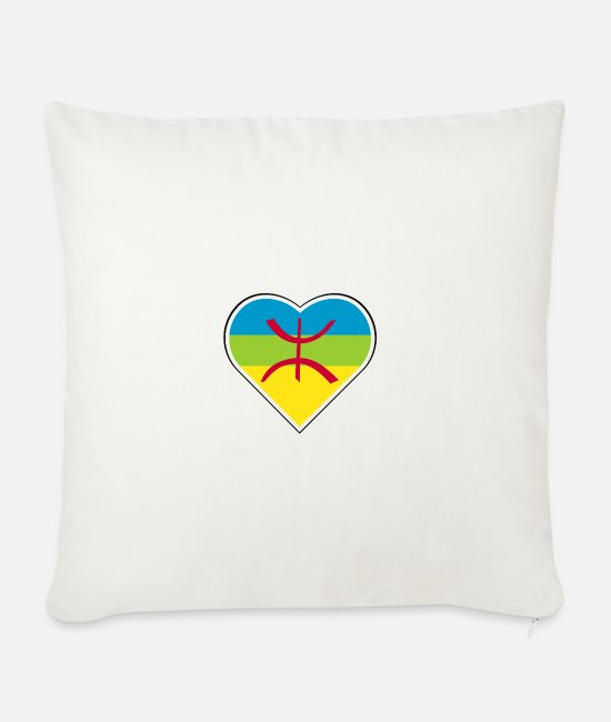 Proud Pillow Cases - My heart beats for the Berber people - Sofa pillow with filling 45cm x 45cm natural white