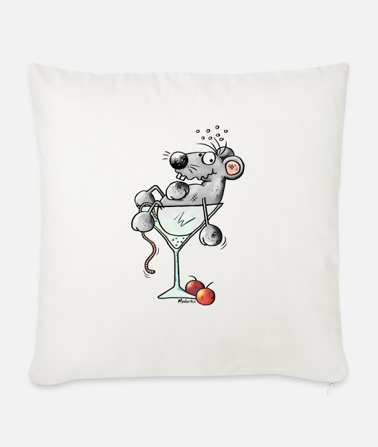 Soft Drinks Pillow Cases - Funny Coctail Mouse - Sofa pillow with filling 45cm x 45cm natural white