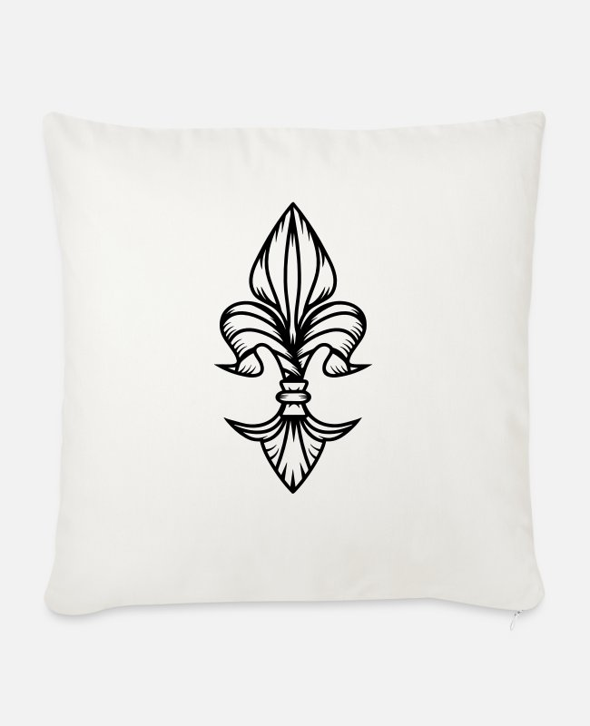 Royal Pillow Cases - The stylized iris - Sofa pillow with filling 45cm x 45cm natural white