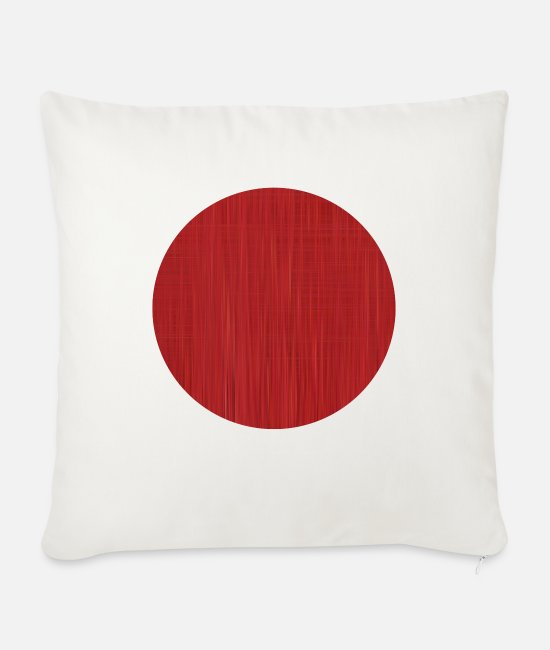 Red Pillow Cases - Red Circle - Sofa pillow with filling 45cm x 45cm natural white