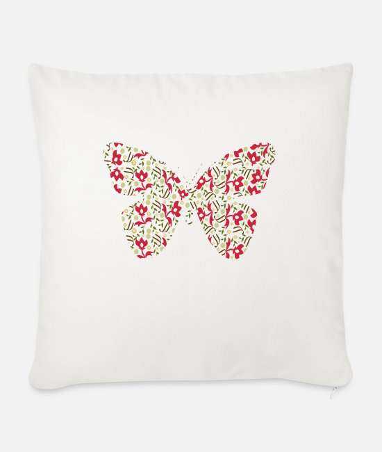 Happiness Pillow Cases - Butterfly I - Sofa pillow with filling 45cm x 45cm natural white