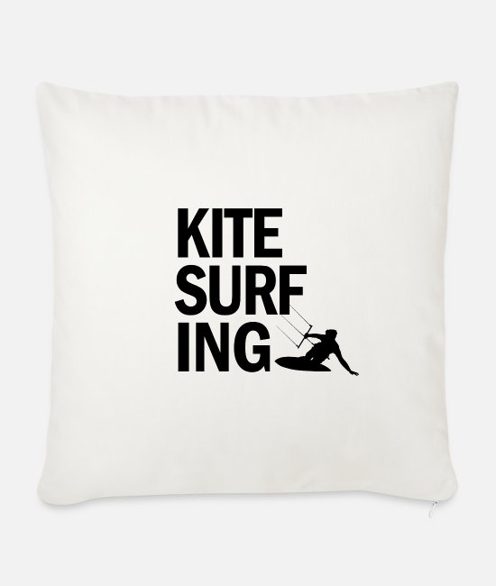 Water Pillow Cases - Kitesurfing font - Sofa pillow with filling 45cm x 45cm natural white