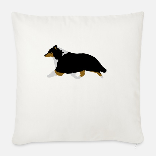 Tricolour Pillow Cases - Shetland Sheepdog Trotting (tricolour) - Sofa pillow with filling 45cm x 45cm natural white