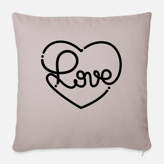 Collection Pillow Cases - Love - Sofa pillow with filling 45cm x 45cm light taupe