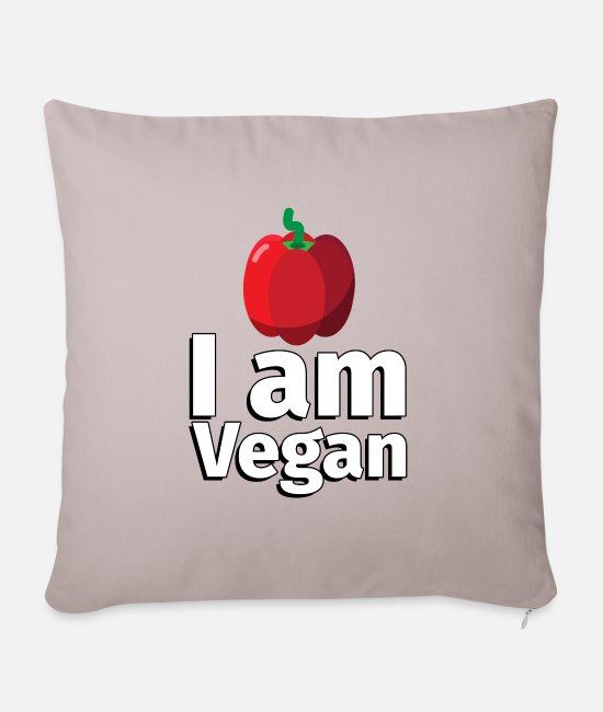 Haven Pudebetræk - I am Vegan Peppers - Illustration - Sofapude med fyld 44 x 44 cm Lys beige