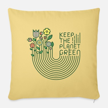 Flowers & lettering (keep green, minimal) - Sofa pillow with filling 45cm x 45cm