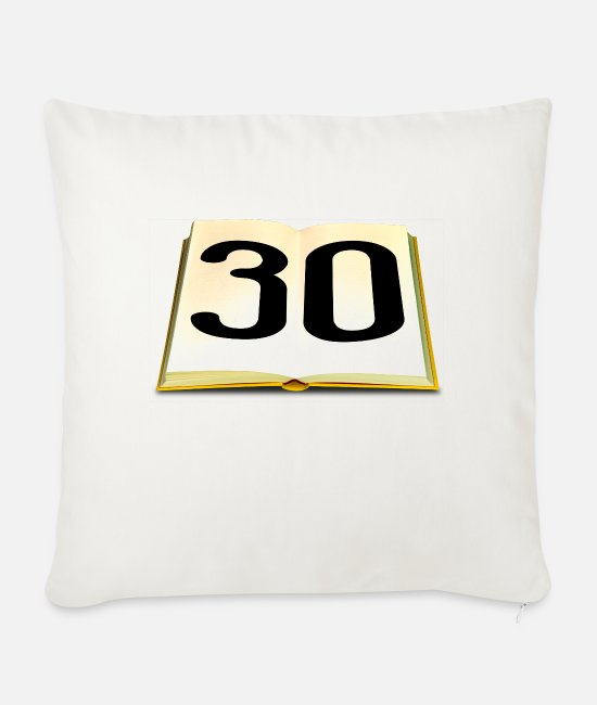 Read Pillow Cases - Birthday 30 years - Sofa pillow with filling 45cm x 45cm natural white