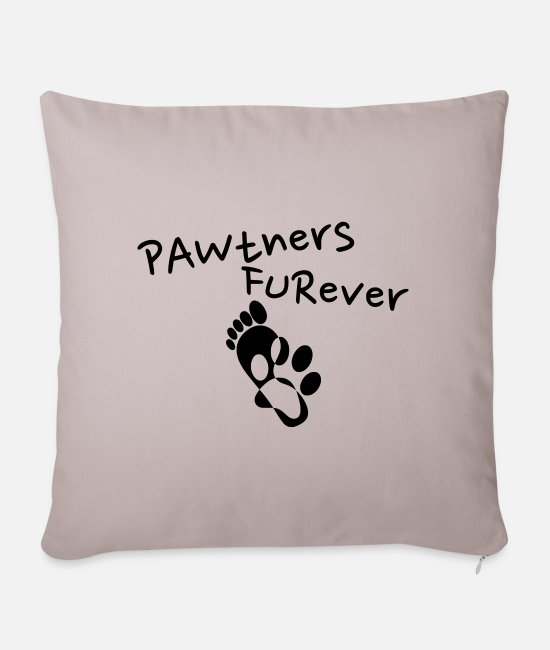 Sweet Dog Pillow Cases - Pawtner's Furever! (Partners Forever) - Dream Team - Sofa pillow with filling 45cm x 45cm light taupe