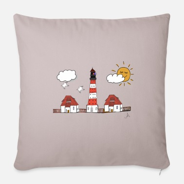 Westerhever lighthouse drawing - Sofa pillow with filling 45cm x 45cm