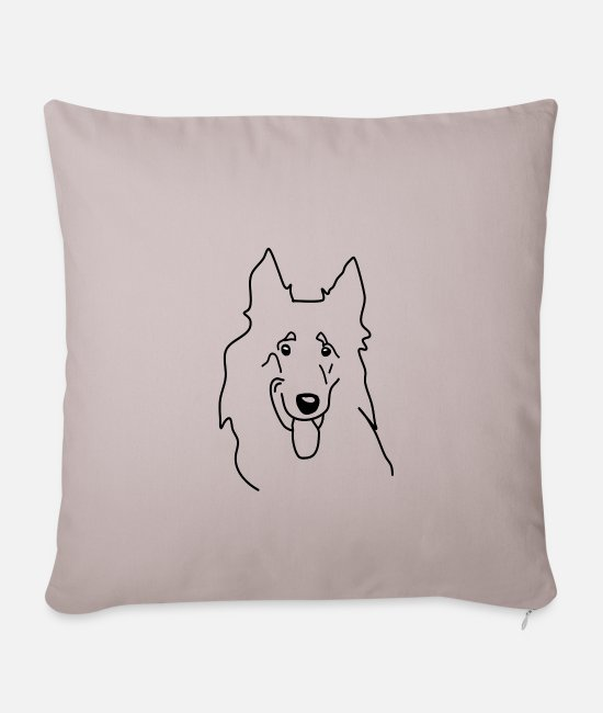 Friendship Pillow Cases - Longhaired Collie Collie Lassie Shirt Dog Heart Love - Sofa pillow with filling 45cm x 45cm light taupe